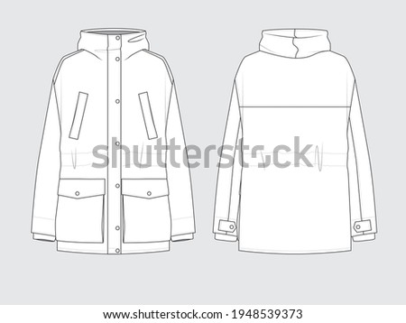 padded parka in windproof, hood with a detachable faux fur trim, front and back, drawing technical flat sketches of garments with vector illustration. Сток-фото ©
