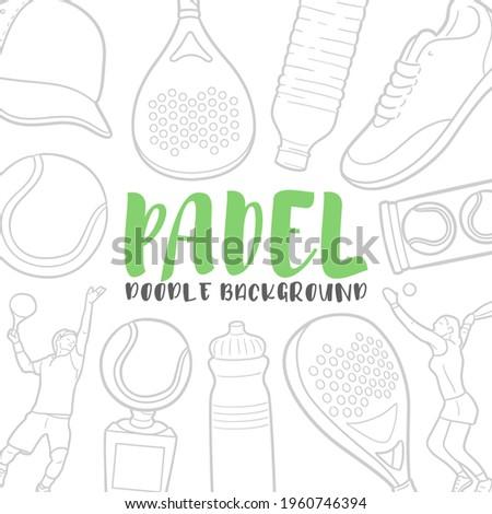 Padel Doodle Banner Icon. Sport Vector Illustration Hand Drawn Art. Line Symbols Sketch Background. Stock fotó ©