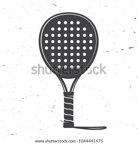 Padel tennis racket icon. Vector illustration. Silhouette of tennis racket isolated on white background. Сток-фото ©