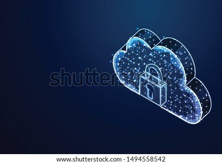 Padlock and Cloud Storage, From Lines and Dot, Abstract Low Poly Background. Vector Illustration