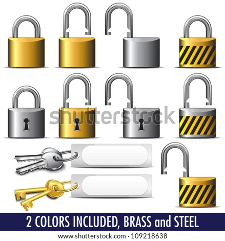 Padlock and Key in Brass and Steel - All items in the vector file are on individual layers