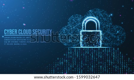 padlock, cloud, Big data cloud computing internet of things IOT AI network technology. Data center digital code futuristic information technology.   abstract low poly wireframe mesh design.
