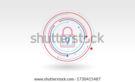 Padlock digital tech logo icon security concept abstract background