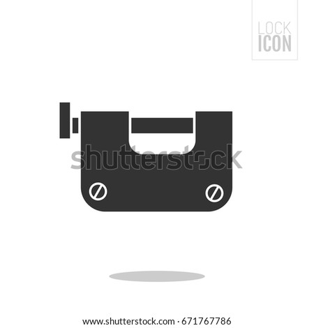 Padlock. Flat black icon of lock isolated on white background. Object of safety, protection. #671767786