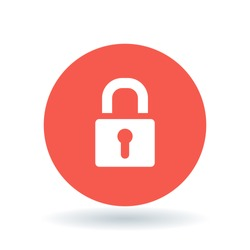 Padlock icon. Security lock sign. Secure protection symbol. White secure padlock icon on red circle background. Vector illustration.