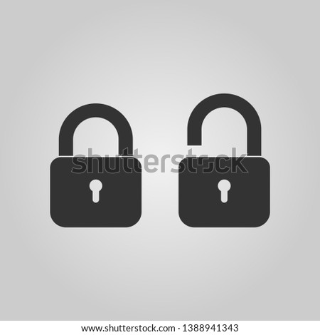 Padlock icon template. Black lock isolated on white background. Silhouette padlock for applications, sites. Private access icon, restricted access. Vector illustration.