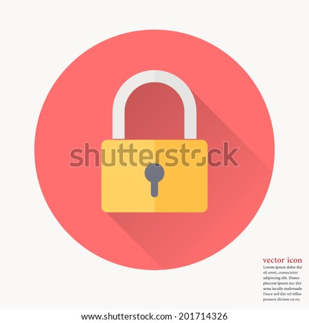 Padlock icon , Vector illustration flat design with long shadow  Stock photo ©