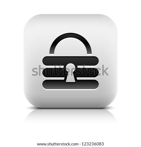 Padlock icon web sign. Series in a stone style. Rounded square button with black shadow and gray reflection on white background. Vector illustration clip-art design element in 8 eps