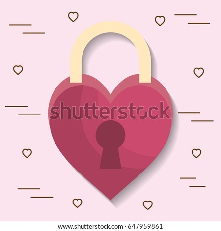 padlock in heart shape icon