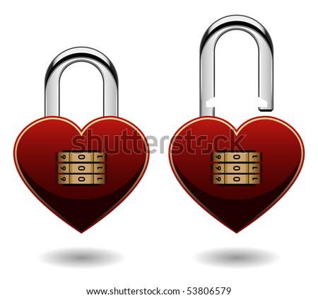 padlock love heart shape vector