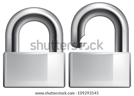 Padlock opened and closed