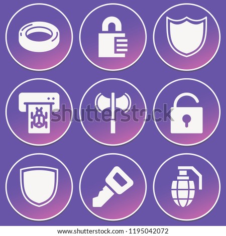 Padlock, shield, atm, unlock, grenade, axe, rubber ring icon set suitable for info graphics, websites and print media and interfaces