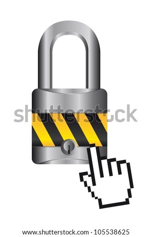 padlock with cursor hand over white background. vector - stock vector