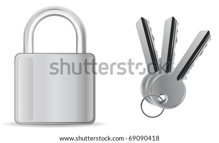 padlock with key icons - stock vector