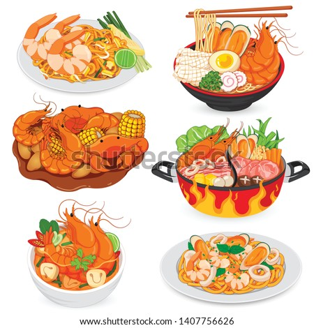 Padthai, Seafood Noodles, Barbecue Seafood, Shabu, Tom Yum Kung and Spaghetti Seafood Vector.