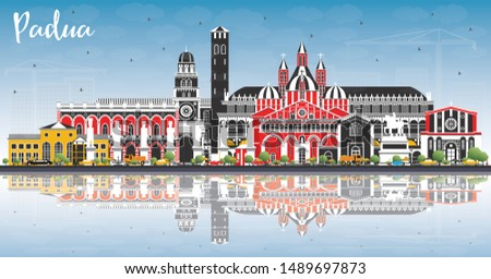 Padua Italy City Skyline with Color Buildings, Blue Sky and Reflections. Vector Illustration. Business Travel and Concept with Historic Architecture. Padua Cityscape with Landmarks.