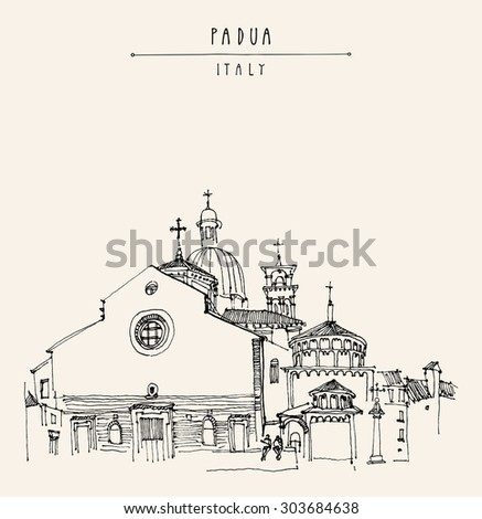 Padua, Veneto, Italy, Europe. Cathedral of the Assumption of Mary of Padua, Roman Catholic church and minor basilica. Isolated vector illustration. Postcard template with