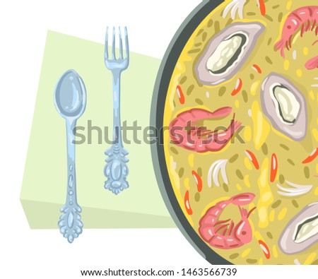 Paella, Spanish rice dish. Illustration for the menu. Frying pan on a wooden stand, serving dishes. Seafood food recipes. Vector drawing in cartoon flat style.