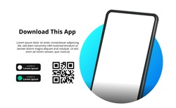 page banner advertising for downloading an app for mobile phone, smartphone. Download buttons with scan qr code template. 3D perspective with blue circle