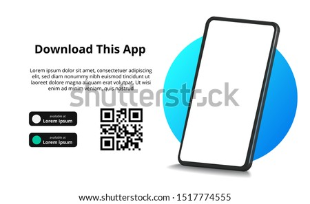 page banner advertising for downloading an app for mobile phone, smartphone. Download buttons with scan qr code template. 3D perspective phone
