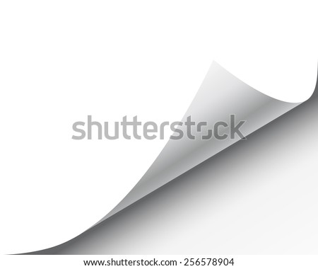 Page curl with shadow on a blank sheet of paper, design element for advertising and promotional message isolated on white background. EPS 10 vector illustration.