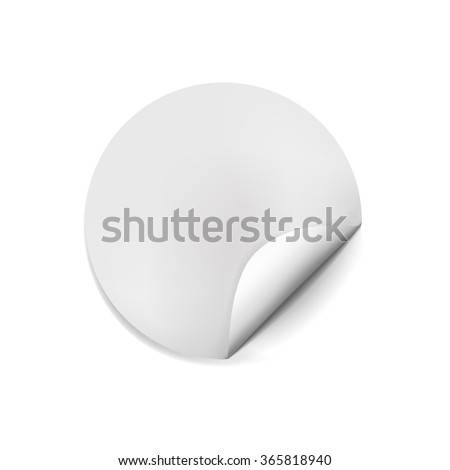 Page curl with shadow on blank sheet of paper. White paper sticker. Element for advertising and promotional message isolated on transparent background. Vector illustration for your design and business #365818940
