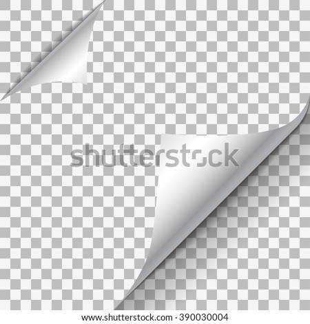 Page curl with shadow on blank sheet of paper. White paper sticker. Element for advertising and promotional message isolated on transparent background. Vector illustration for your design and business Stockfoto ©