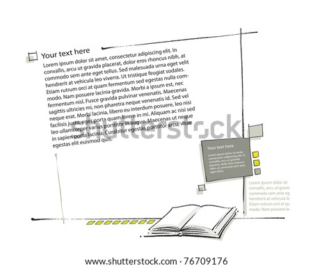 Page layout, book icon included (simple linear drawing, blank text, vector)