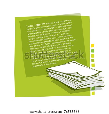 page layout design - incl. stack of paper icon (contains transparency)