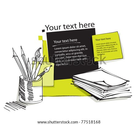 page layout with pencils, office copy paper and blank text boxes - stock vector