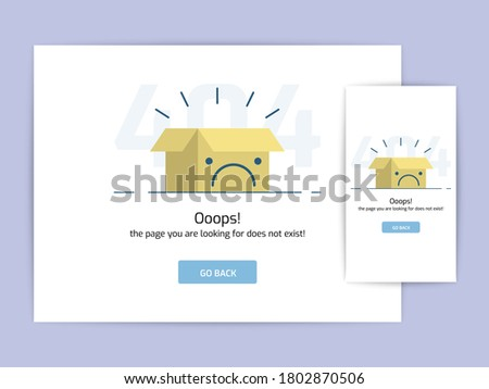 Page not found 404 design concept template. error page flat line vector. Link to a non-existent page. Box frown illustration Foto stock ©