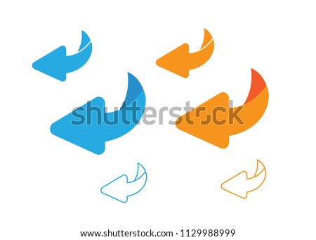 Page turn or back arrow flat vector set