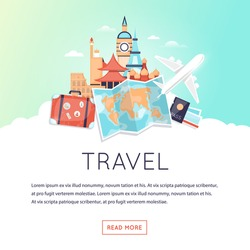 Page web design template World Travel, summer vacation, tourism and journey. Trip plan. Flat design vector illustration.