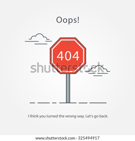 Page with a 404 error in the popular linear style. Template reports that the page is not found.