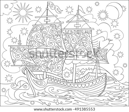 vector sailing illustration download free vector art stock Flat Raft Went page with black and white illustration of fantasy fairyland ship for coloring worksheet for children