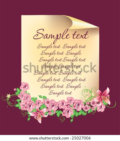 Page with flowers for design - stock vector