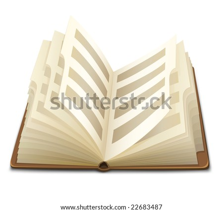 pages of opened book with text vector illustration