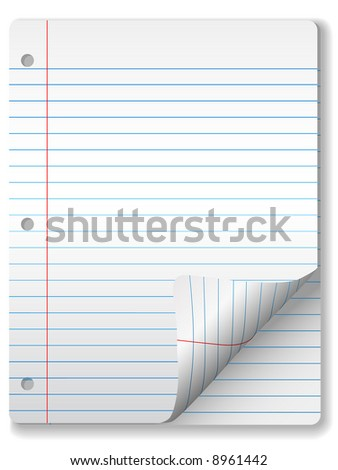 Pages of wide ruled notebook paper - page curl, drop shadow & highlight. Easily tilt or otherwise edit it.