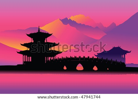 Pagoda and bridge (Lijang, China)