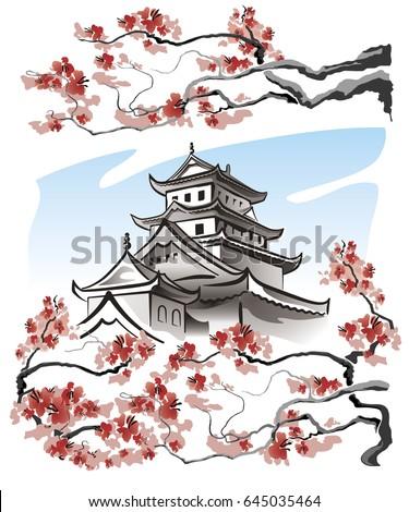 pagoda and sakura branches