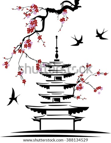 pagoda with tree branches and