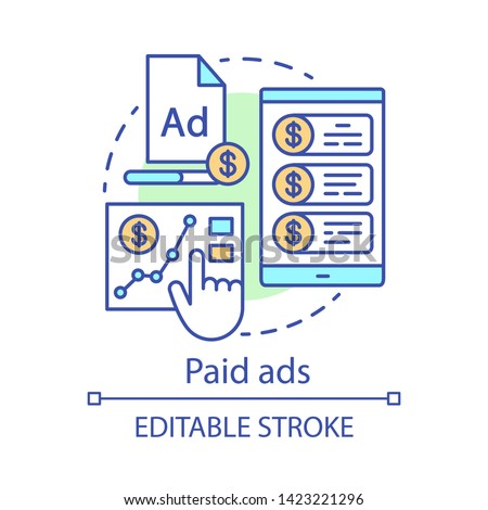 Paid ads concept icon. Online marketing analytics idea thin line illustration. PPC channel. Pay per click advertising campaign. Ad networks. Vector isolated outline drawing. Editable stroke