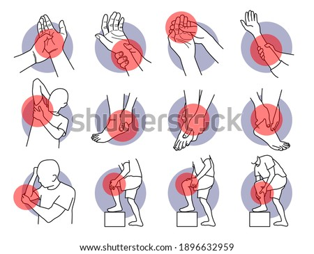 Pain and injury on hand and leg parts. Vector illustrations of painful hand, fingers, arm, leg, ankle, heel, knee, and elbow. Symptoms of muscle sprain, soreness, ligament, and injury problems. Photo stock ©