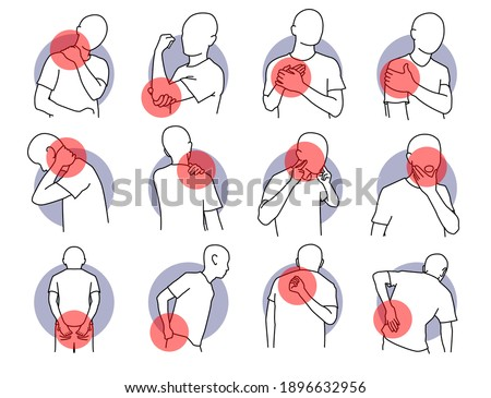 Pain and injury on human body parts. Vector illustrations of painful, stiffness, and  injury on shoulder, neck, and spine. Health problem of muscle tension and spinal subluxation issues. Stockfoto ©