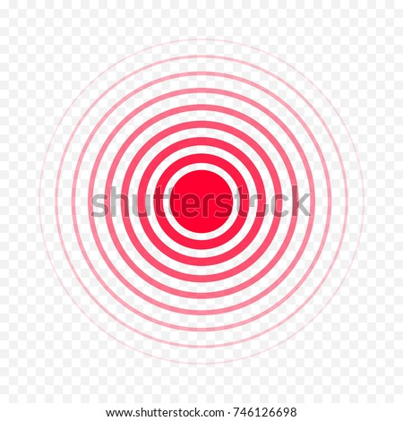 Pain circle red icon for medical painkiller drug medicine. Vector red circles target spot symbol for pill medication design template of body or muscular joint pain and head ache analgetic remedy