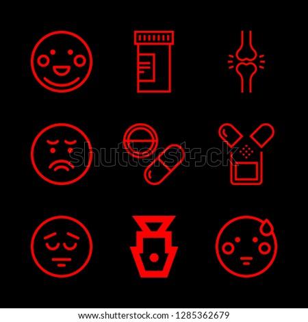 pain icons set with sad  pill