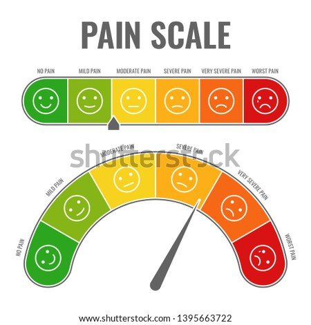 Pain scale. Horizontal gauge measurement assessment level indicator stress pain with smiley faces scoring manometer measure tool vector chart