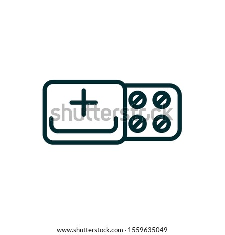 painkillers equipment medical icon line vector illustration