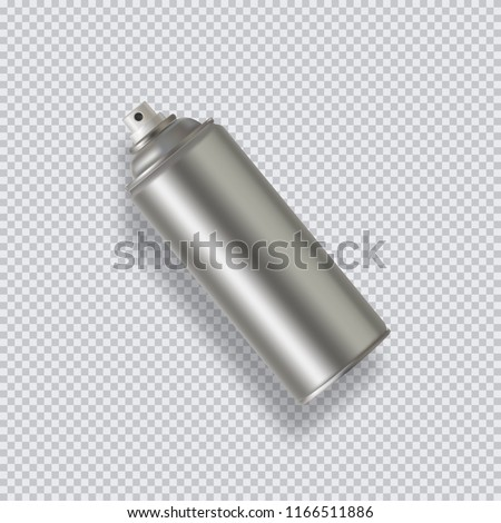 Paint Aerosol Spray Metal 3D Bottle Can, Graffiti, Deodorant, Household Chemicals, Poison. Front View. Illustration Isolated On transparent Background. Mock Up Template For Your Design. Vector EPS10
