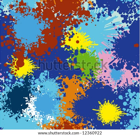 Paint blots seamless vector background. No trace - all shapes clear and smooth.